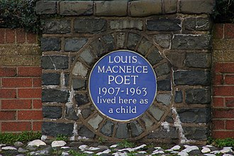 Louis MacNeice - Plaque at site of MacNeice's childhood home in Carrickfergus
