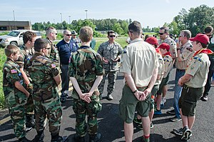 Kentucky Wing Civil Air Patrol -  Lt. Col. Ash Groves briefs members of the Civil Air Patrol Paducah Composite Squadron and Boy Scout Troop 4.