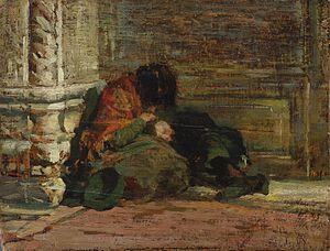 Luigi Nono (painter) -  Study for Abbandonati, 1875.