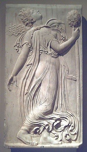 Omophagia - Marble image of a dancing Maenad; approximately 120-140 AD. Attributed to Callimachus.