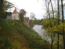 Mēmele river at Bauska Castle.jpg