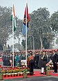M. Hamid Ansari unfurling the NCC Flag at the inauguration of the NCC Republic Day Camp 2016, in New Delhi on January 06, 2016. The Director General, NCC, Lt. Gen. Aniruddha Chakravarty is also seen.jpg
