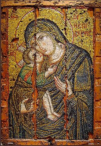 Eleusa icon - 13th century Byzantine Eleusa mosaic, Athens