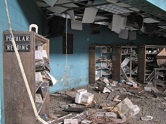 New Orleans Public Library - Flood-damaged interior of M.L. King Branch before it was gutted