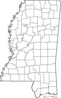 Location of Vaughan, Mississippi