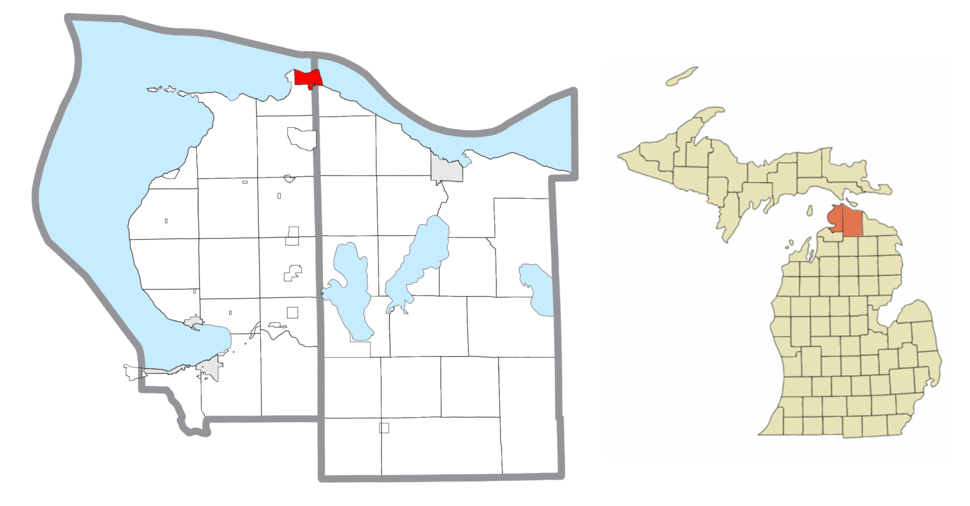 Location within Emmet County (left) and Cheboygan County (right)