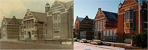 Stockport Grammar School - The Main School's West Face. The photo (left) was taken after construction in 1916. The photo (right) was taken in 2012.