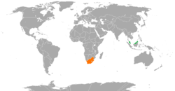 Map indicating locations of Malaysia and South Africa