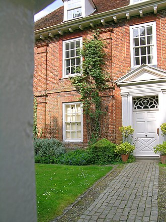 Princes Risborough - Detail showing the 17th-century brick pilasters and the (later) front door