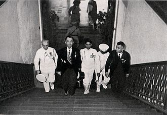 Philippine presidential inauguration - Manuel L. Quezon climbs up the Malacañang Palace stairs for the first time as the President of the Philippines in 1935.