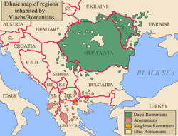 Map of Balkans with regions inhabited by Aromanians in red