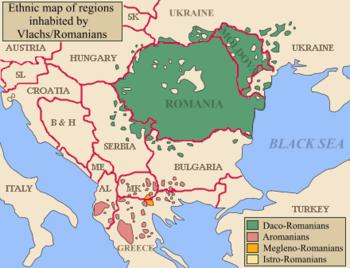 Η γεωγραφική εξάπλωση της Βλάχικης γλώσσας (με ροζ), καθώς και της βλάχικης διαλέκτου των Μογλενών (με πορτοκαλί) στην Μακεδονία, την Ήπειρο, την Αλβανία και την Π.Γ.Δ.Μ.