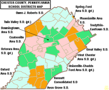 Map of Chester County Pennsylvania School Districts.png