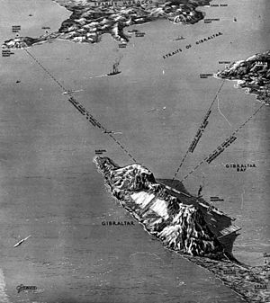 Military history of Gibraltar during World War II - 1939 map of the Strait of Gibraltar as published in The Illustrated London News.