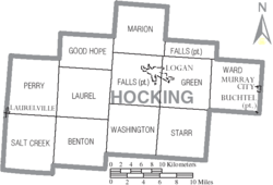 Municipalities and townships of Hocking County.
