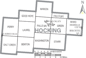 Hocking County, Ohio - Map of Hocking County with municipal and township boundaries