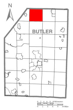 Map of Butler County, Pennsylvania highlighting Marion Township