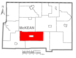 Map of McKean County, Pennsylvania highlighting Hamlin Township