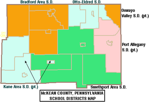Kane Area School District - Image: Map of Mc Kean County Pennsylvania School Districts