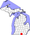 State map highlighting Hillsdale County
