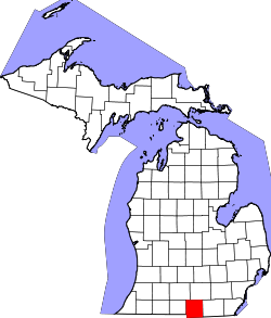 map of Michigan highlighting Hillsdale County