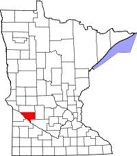Map of Minnesota highlighting Chippewa County