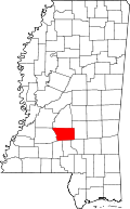 Map of Mississippi highlighting Simpson County