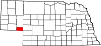 Map of Nebraska highlighting Deuel County