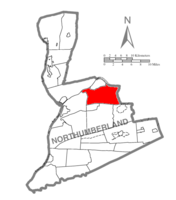 Map of Northumberland County, Pennsylvania highlighting Rush Township