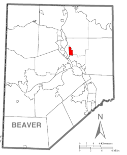 Map of Beaver County, Pennsylvania highlighting Pulaski Township