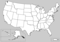 Map of USA showing unlabeled state boundaries.png