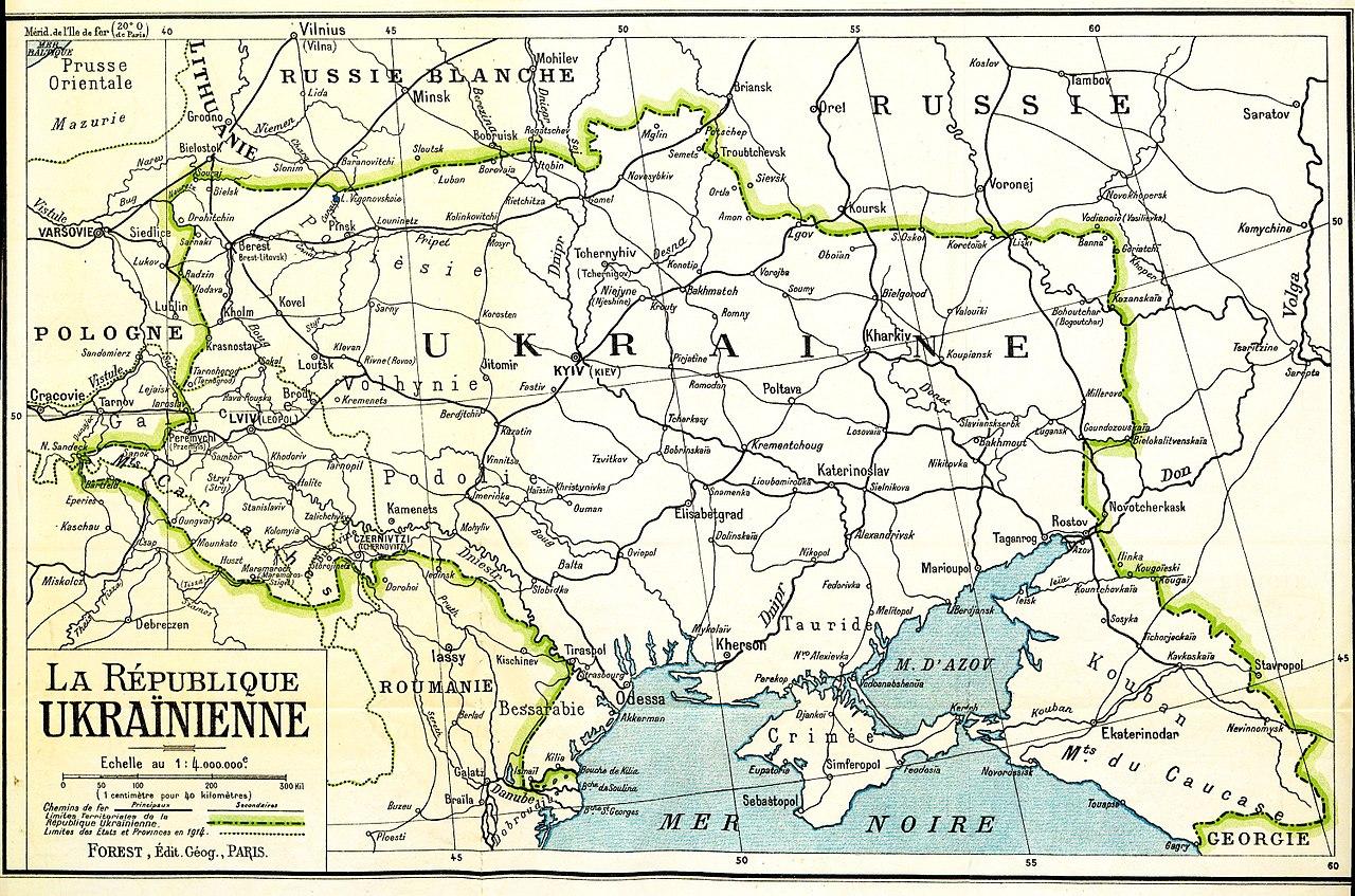 Територія України на мапі Паризької мирної конференції 1919 року