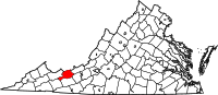 Map of Virginia highlighting Bland County
