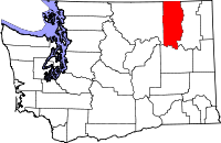 Map of Washington highlighting Ferry County