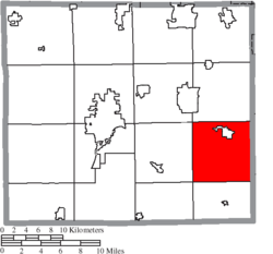 Location of Sugar Creek Township in Wayne County