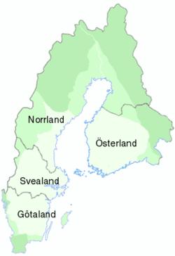 Karta Over Sveriges 25 Landskap.Sveriges Landsdelar Wikipedia