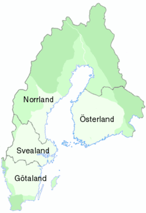 Sweden–Finland - The traditional lands of Sweden. (Different stages of expansion marked by shades. Borders as of year 1700.)