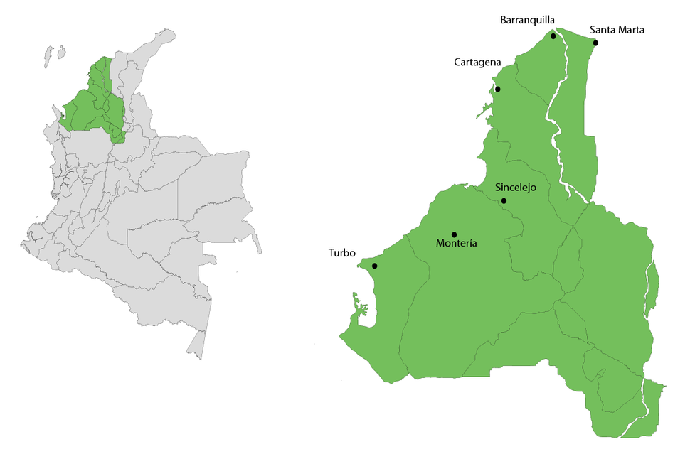 Mapa Eje musical Caribe Occidental
