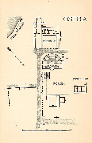Ancient Ostra - Map of Ancient Ostra, drawn up during the excavations of 1903-1904 made by Cav. Baldoni.