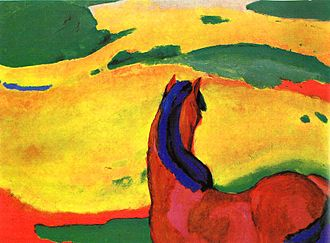 The Monk by the Sea - Expressionist painter Franz Marc's Horse in a Landscape bears formal similarities with The Monk by the Sea.