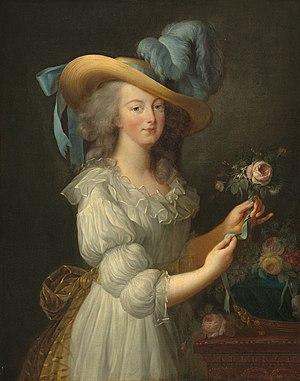 """Muslin - Marie Antoinette in her famous """"muslin"""" portrait, 1783"""