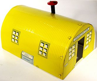 """Big Inch - 1962 toy Quonset hut, sold as part of the Marx """"Big Inch pipeline"""" construction set"""