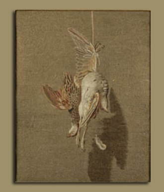 "Hanover Square Rooms - A ""needle painting"" of a dead bird embroidered by Mary Linwood, exhibited in the Rooms in 1798"