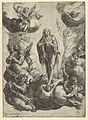 Mary Magdalen standing on clouds, being transported to heaven by angels MET DP836910.jpg