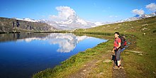 """The characteristic """"Matterhorn cloud"""" that forms on the leeward side of the summit."""