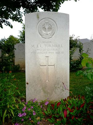 Maurice Turnbull - Headstone of Maurice Turnbull. Bayeux CWGC Cemetery.
