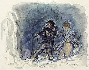 Max Slevogt, Tamino e Pamina (1920). Acquerello per Il flauto magico