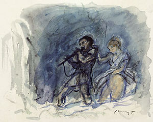 The Magic Flute - Tamino and Pamina undergo their final trial; watercolor by Max Slevogt (1868–1932)