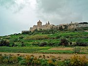 View of Mdina from the countryside below.
