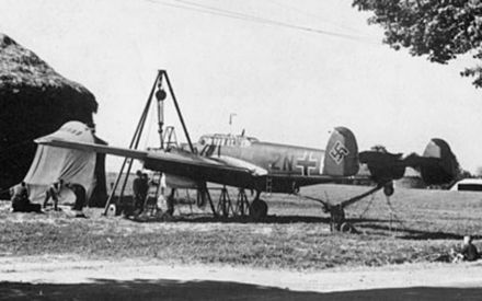 A Bf 110 of Zerstorergeschwader 76 (ZG 76). The 9 July was the Bf 110's baptism of fire. Me 110 of ZG 76 on the ground.jpg